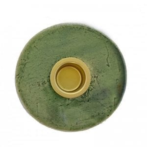 keramik lysestage i groen - dansk-design-guld