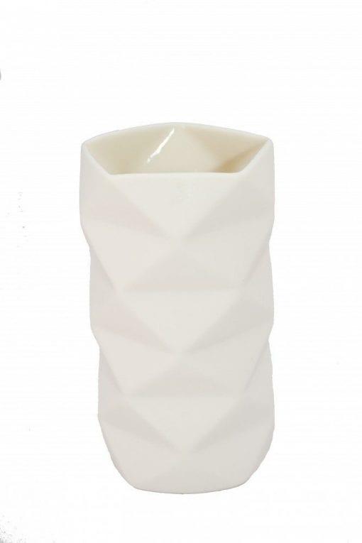 Keramik Vase Fold i Råhvid, mellem - 13 cm