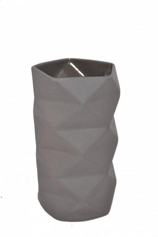 Keramik Vase Fold i Grå, mellem - 13 cm