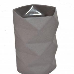 Keramik Vase Fold i Grå, Lille - 10,5 cm