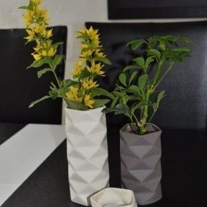 Vase Keramik Fold i Grå, Stor - 17,5 cm