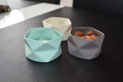 Keramik Lysestage Fold i Grå, x-small - 7 cm