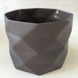 Keramik Krukke Fold i Grå - 9 cm