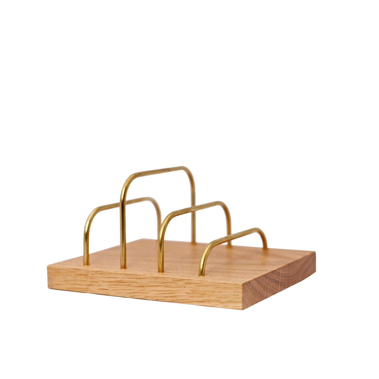 Brevholder – Brass-Dock Egetræ/Messing