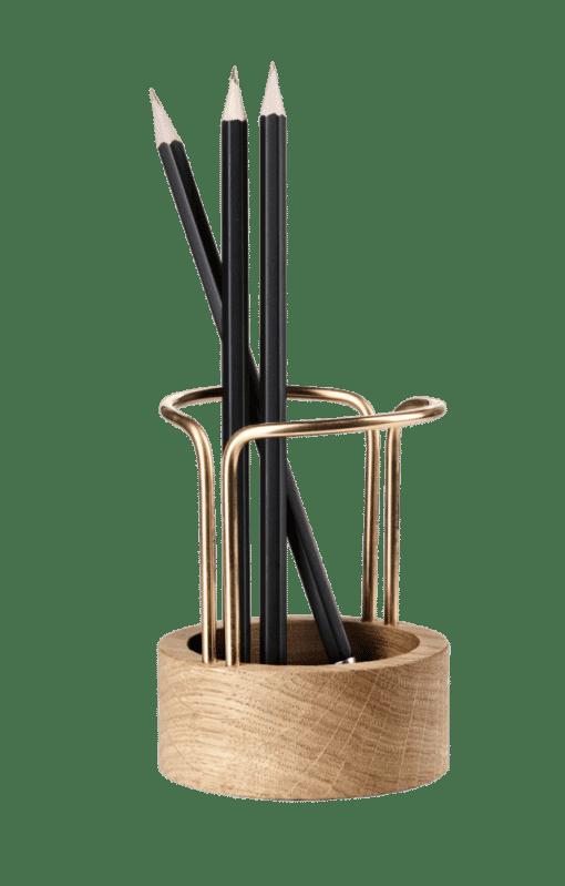 Blyantholder Messing/Egetræ - Pen Up