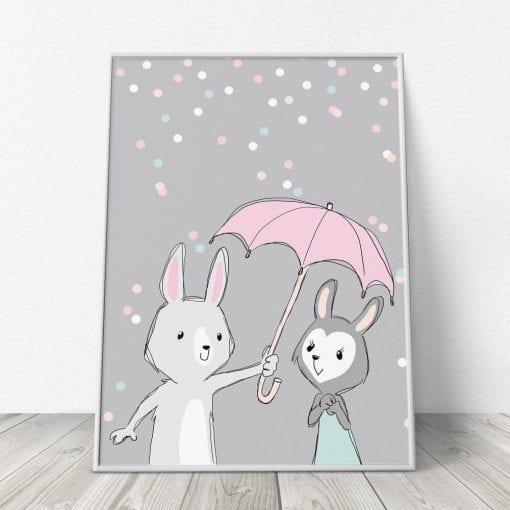 Be My Bunny Baby - Grå Børneplakat