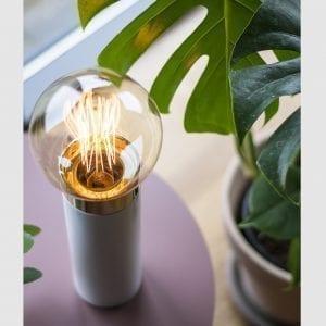 Hvid Bordlampe - Pipe Lamp Hvid/Guld - 24 cm