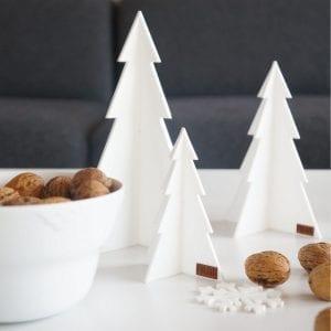 Juletræer i Hvid, sæt med 3 stk