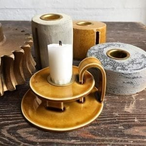 Keramik Lysestage i Gul - Lav