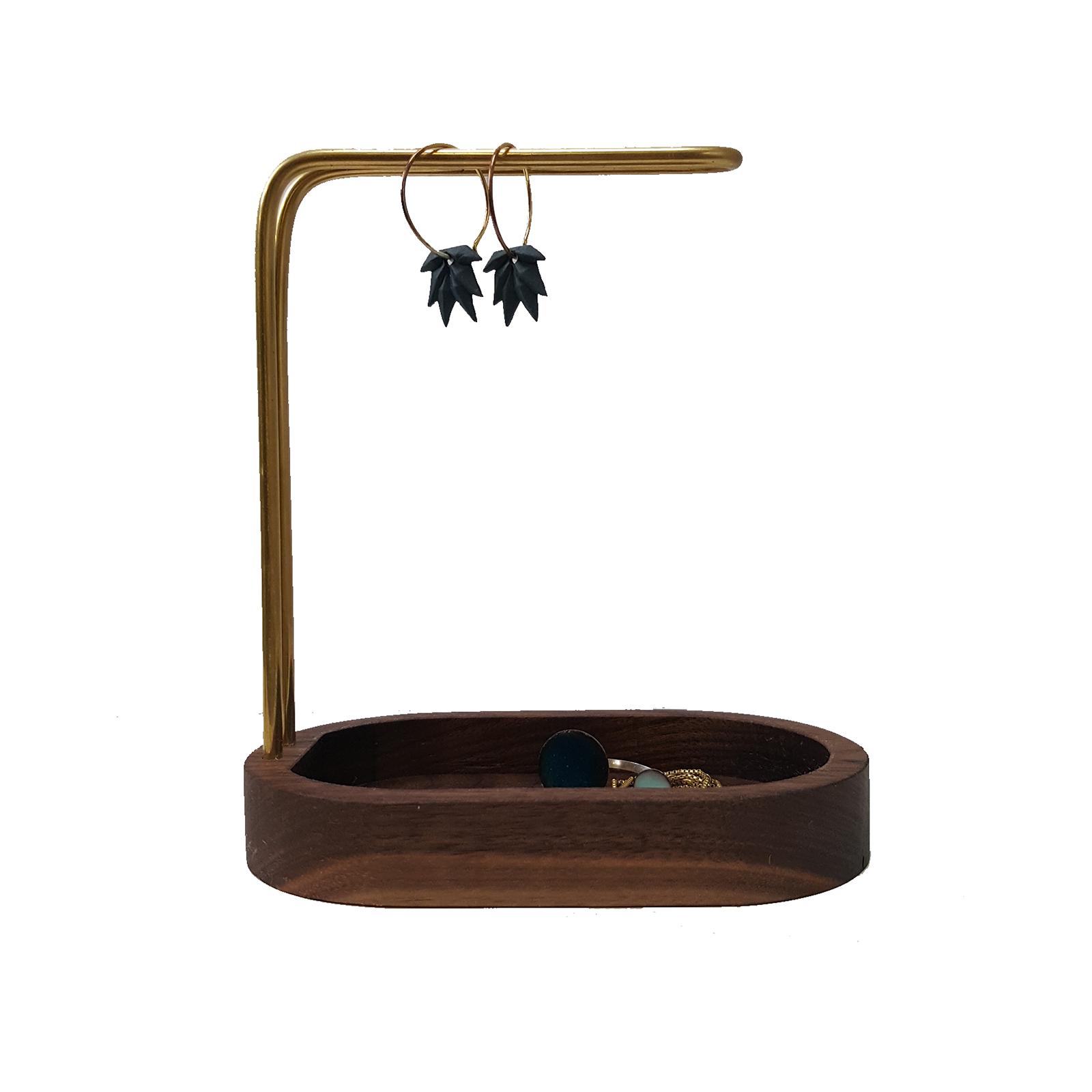 Smykkestativ – Hang On Valnød/Messing