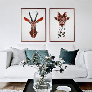 gazelle og giraf plakat - billeder af dyr - billeder til kontoret - billeder til steun - billeder til entre - plakater - billeder af dyr - mpm design - modernhousedk