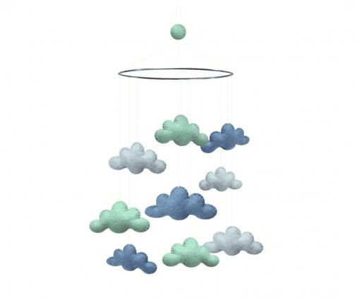uro i mint og blaa - uro med skyer - gamcha - uro i uld - dansk deisgn - interior til baby vaerelse - modernhouse