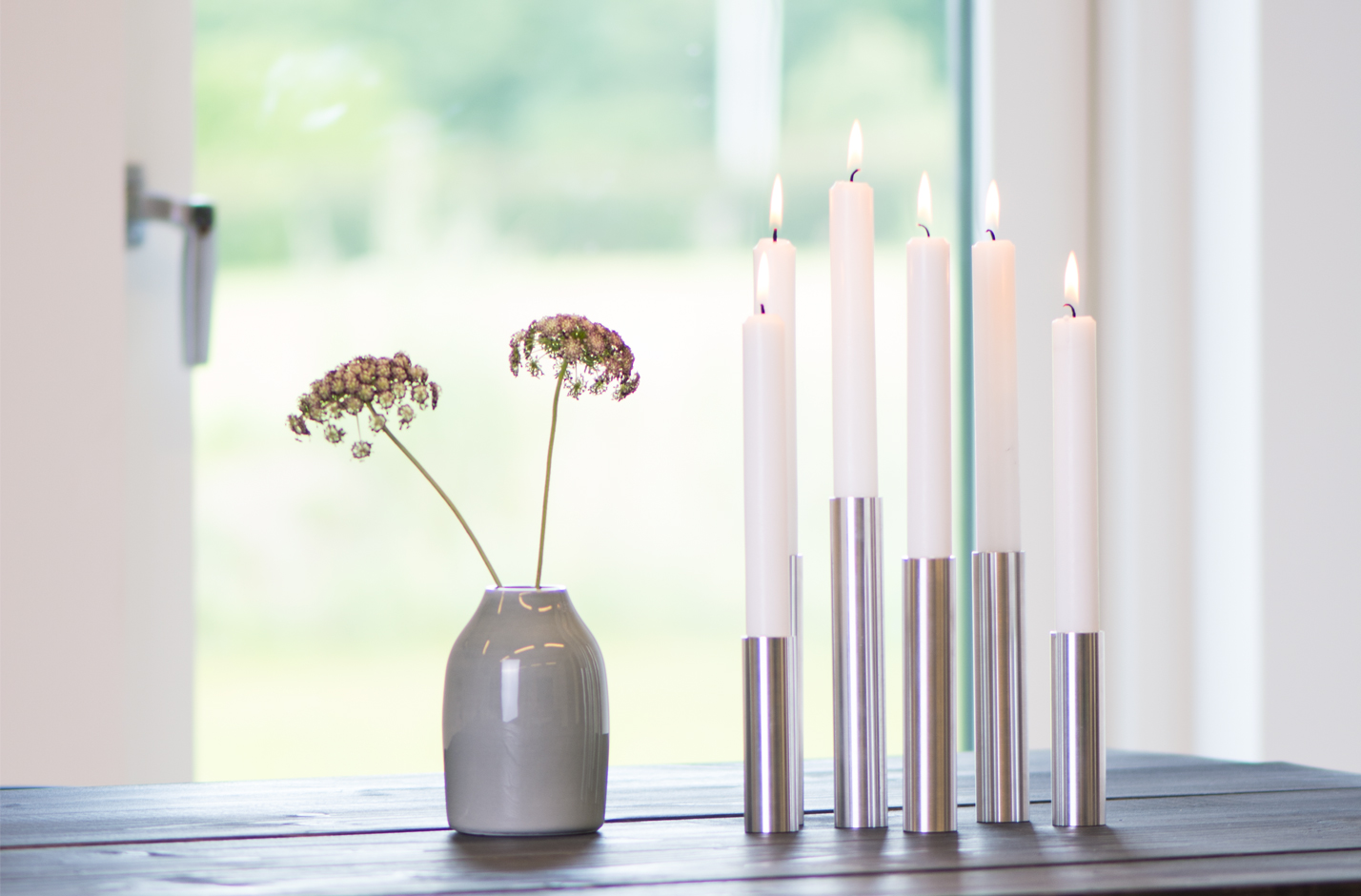 Slim Light Lysestage – Rustfri Stål (blank)