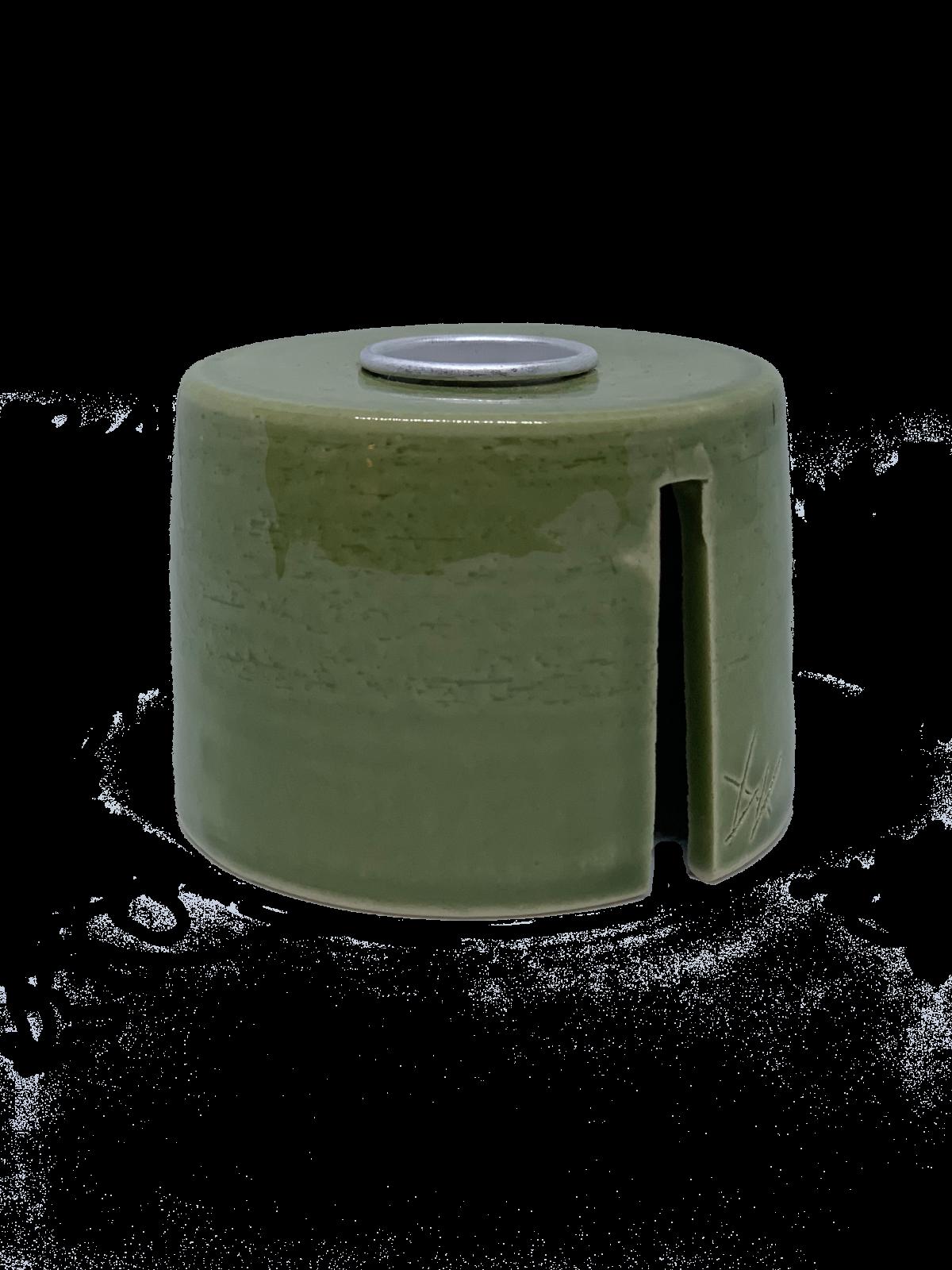 Keramik Lysestage – Grøn/Sølv – Mellem