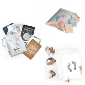 startpakke med milestone kort og aftrykssaet - milestenskort - dansk design - baby aftryk