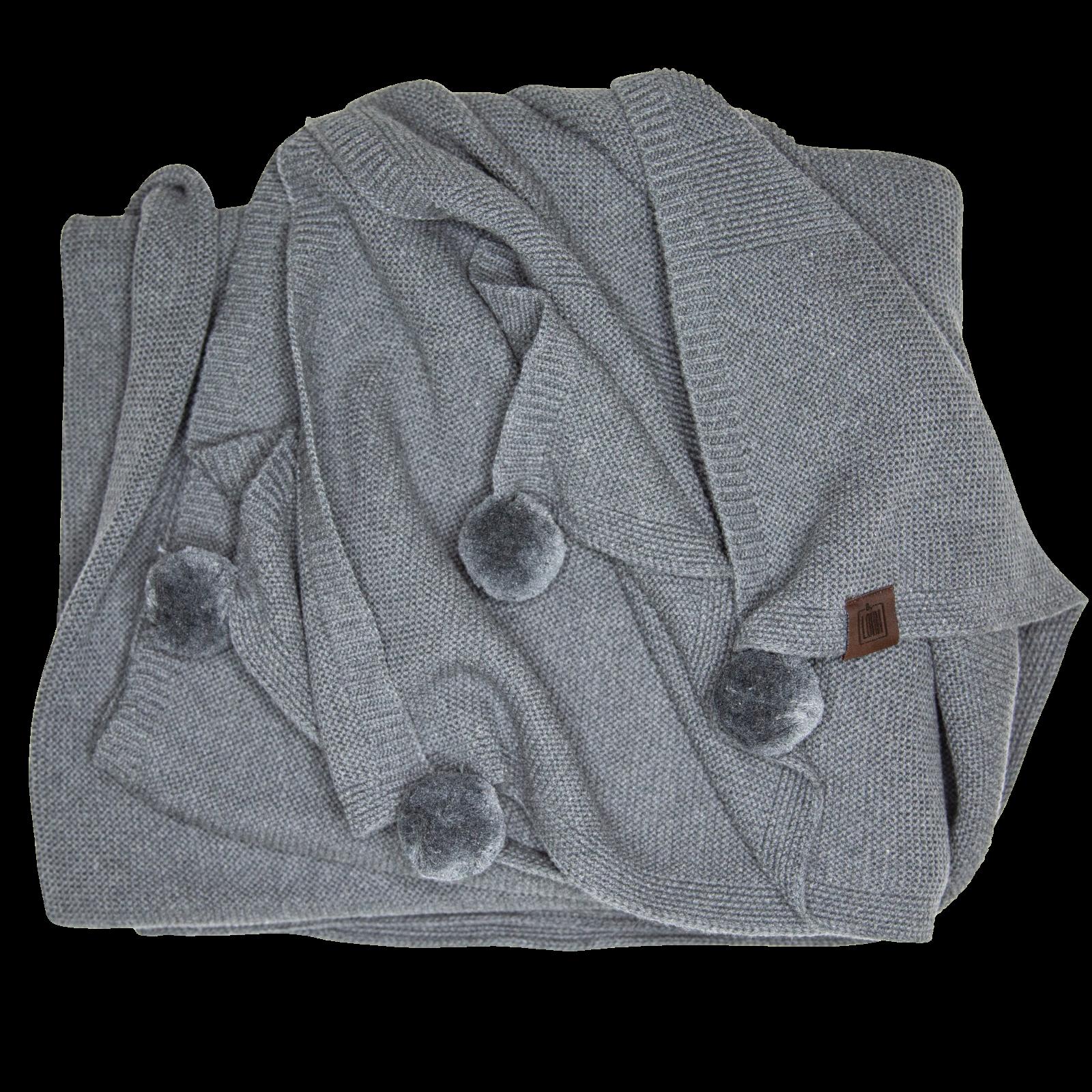 By LOHN – Plaid Pom-Pom, Mørkegrå – 140×160 cm