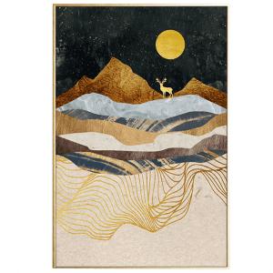Beige Landshape_house of sander_illustration med ramme_maleri_indretning