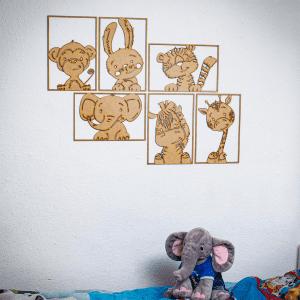 Familien kl - illustrationer - boernevaerelse - wall art - vaegpynt - dansk design - modernhousedk