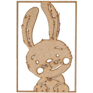 Familien kl - illustrationer - kanin - vaegpynt - billede i trae - wall art - dansk design - modernhousedk