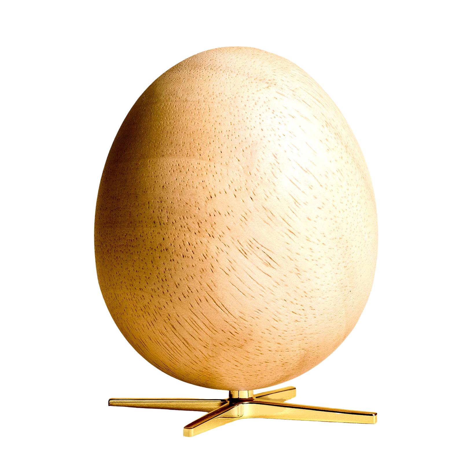 Ægget Figuren – Lyst træ med Guldfarvet fod