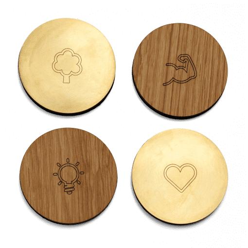 The Oak Men - coasters oak walnut - hjemmebar - dansk design - bordskaaner - flaske skaaner - glasskaaner - dansk design
