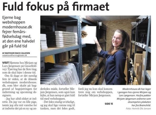 Herning folkeblad - modernhouse - foerste fem aar - ivaerksaetter - dansk design