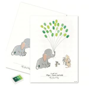 baby fingeraftryk dreng groen - daabspynt - barnedaab - fingeraftryk - mouse and pen